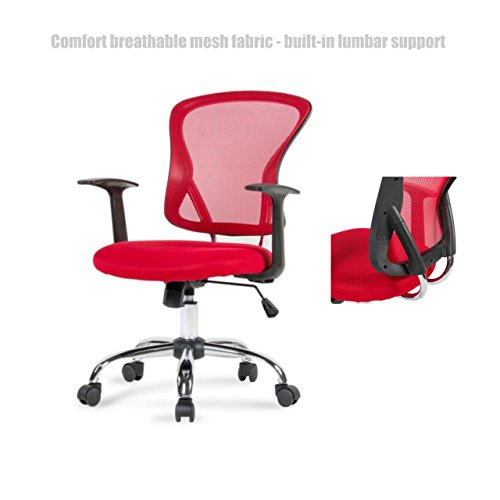 Modern Office Desk Chair Mid Back Design Breathable Mesh Fabric Built-in Lumbar Backs Support Durable Dual Wheel Casters Ergonomic Design Executive Chair - Red - Shopping Doncaster Town