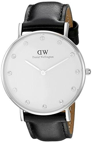 Daniel Wellington - 0961DW - Montre Femme - Quartz Analogique - Cadran Blanc - Bracelet Cuir Noir