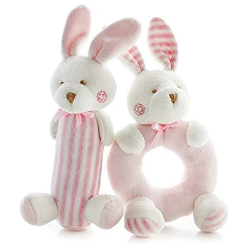 SHILOH Baby Rattle Plush Soft Toys Newborn Gift Crib toy 7.2in3.2in Pink Rabbits Bunny - Bunny Rabbit Toy