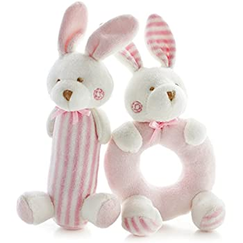 Amazon bunnies by the bay bunny ring rattle pink baby toy shiloh baby rattle plush soft toys newborn gift crib toy 72in32in pink rabbits negle Gallery