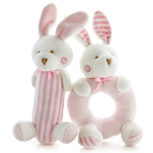 SHILOH Baby Rattle Plush Soft Toys Newborn Gift Crib toy 7.2in3.2in Pink Rabbits Bunny