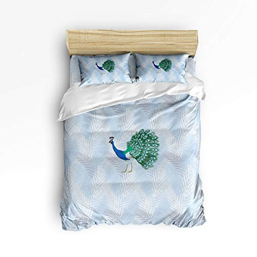 - EZON-CH King Size 4 Piece Duvet Cover Set Cute Bedding Set for Girls Boys,Beautiful Peacock with Green Feather Bed Sets,Include 1 Flat Sheet 1 Duvet Cover and 2 Pillow Cases