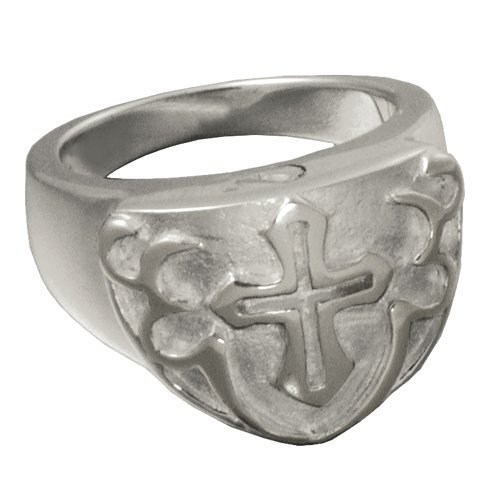 Memorial Gallery 2010P-12 Men's Cross Ring Platinum (Allow 4-5 Weeks) Cremation Pet Jewelry, Size 12