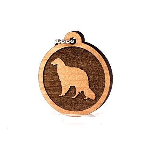 Sunset Design Lab Borzoi for AKC Dog Pet American Kennel Club Wood Laser Cut Keychain Charm Ornament