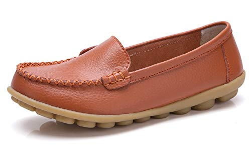 VenusCelia Women's Concise Walking Office Flat Loafer Orange/Tangerine