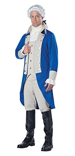 California Costumes Men's George Washington Costume, Blue/Tan, Medium (Colonial Soldier Costume)