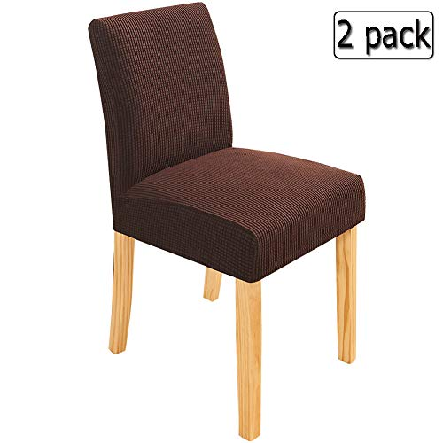 Deisy Dee Stretch Chair Cover Slipcovers for Counter Height Chairs, Bar Stool Chair Covers Pack of 2 C179 (Dark Brown)