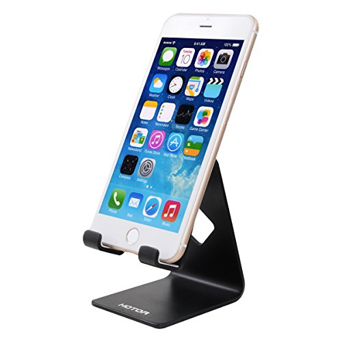 HOTOR Solid Aluminum Desk Desktop Stand for iPhone 6 6 plus 4 4s 5 5s 5c iPad 2/3 air mini/Samsung Galaxy S3/5 HTC ONE M7 Blackberry Tablet Tab Google Nexus Lumia and other Smartphone,Black