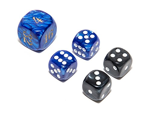 Bello Games Deluxe Marbleized Dice Sets-Black/Blue 5/8
