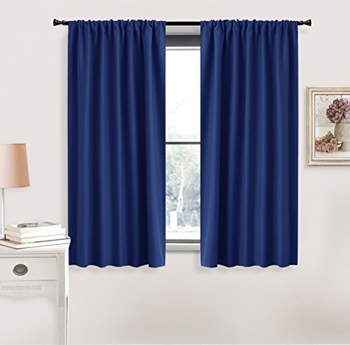Blue Curtains Blackout for Bedroom - RYB HOME Rod Pocket Window Treatments Room Darkening Light Block Draperies Thermal Insulated Heavy-Duty for Small Windows, Wide 42