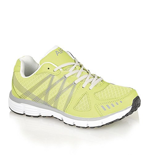 Air Tech Mens Running Trainers Casual Lace Up Gym Walking Boys Sports Shoes Size Lemon / Grey / White CeQViU0