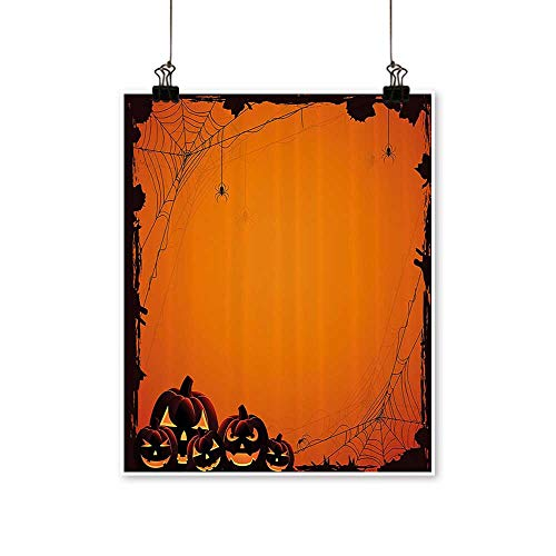 Modern Canvas Painting Wall Art Grunge Spider Web Pumpkins Horror Time of The Year Trick or Treat for Home Office,20