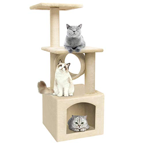 36 Inch Cat Trees and Towers Cat Condo for Kittens Cat Furniture Towers with Scratching Posts, Double Perches, and Roomy Condo House Kitty Condos Cat Activity Trees Climber Towers ()