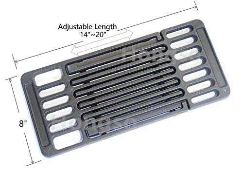 (Hongso Universal Adjustable Cast Iron Grill Grate,Cooking Grid Grate Replacement for Gas Grill, Extends from 14