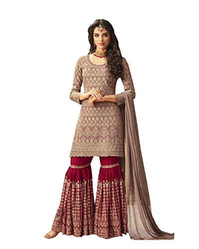 Women's Collection Indian Pakistani sharara Palazo Suit MOHINI (Red, 1X-50)