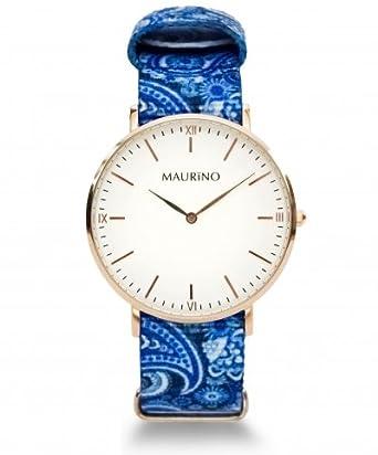 MAURINO Herren Armbanduhr Analog Quarz Textil Rose Gold 40mm M01611