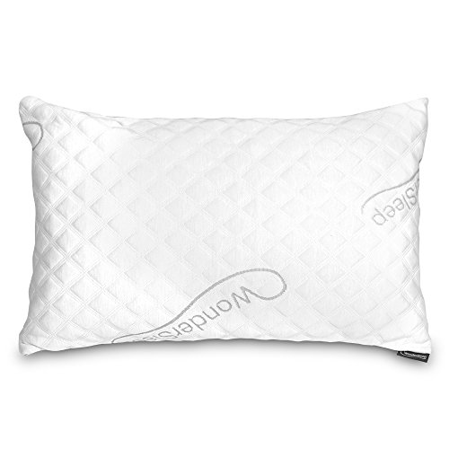 WonderSleep PREMIUM Adjustable Loft [Super Standard Queen] - Shredded Hypoallergenic Memory Foam Pillow For Home & Hotel Collection + Washable Removable Bamboo Derived Rayon Cover - Luxury Queen