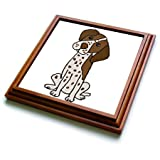 3dRose trv_263758_1 Funny Cute German Shorthaired Pointer Puppy Dog Cartoon Trivet with Tile, 8 by 8''