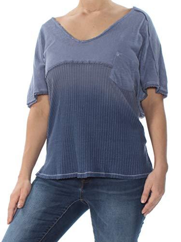 Free People Womens Sun Dial Linen Blend Dip Dye T-Shirt Blue L