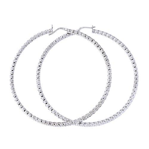 Sterling Silver Rhodium Plated 3mm Diamond Cut Hoop Earrings, 75mm (3 in) - 75mm Earrings