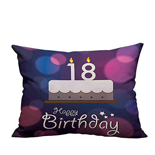 YouXianHome Household Pillowcase Cartoon Birthday Party Cake with Candles Abstract Backdrop Purple and Lilac Perfect for Travel(Double-Sided Printing) 19.5x60 -