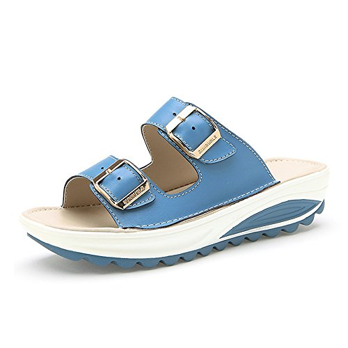 Sandals Feifei Women's Shoes High Quality Material Summer Fashion Outdoor Beach Non-Slip Slippers 4 Colors Optional Blue 34wWk