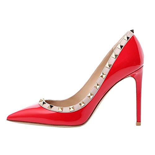 Merumote Femmes Sexy Fashion Slip Sur Talons Hauts Rivets Pompes Chaussures Bout Pointu Talons Aiguilles Robe Party Pompes Rouge Verni