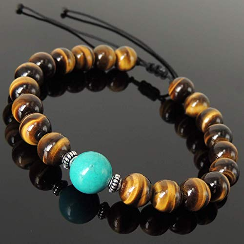 - Cleansing Zen Protection Gemstone Jewelry Mens Womens Handmade Braided Bracelet Casual Wear with Enhanced Blue Turquoise, Grade AAA Brown Tiger Eye, Adjustable Drawstring, S925 Sterling Silver
