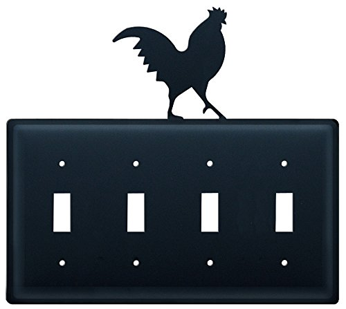 8.25 Inch Rooster Quadruple Switch Cover