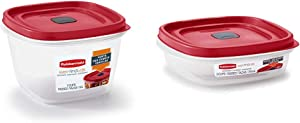 Rubbermaid Easy Find Lids 7-Cup Food Storage and Organization Container, Racer Red & Easy Find Lids 3-Cup Food Storage and Organization Container, Racer Red