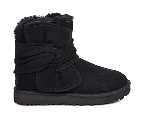 UGG Womens Mini Spill Seam Bow Boot, Black, Size 5