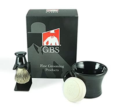 Best Cheap Deal for Men's Grooming Set - Comes with Gift Box - Black Shaving Mug with Knob Handle, 100% Pure Badger Brush, Brush Stand and 97% All Natural Gbs Ocean Driftwood Shave Soap from GBS - Free 2 Day Shipping Available