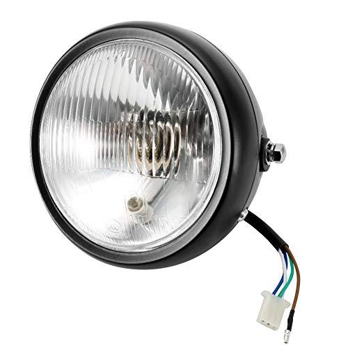 Aramox Motorcycle Headlight,Universal Motorcycle Retro Black Shell White Lens Headlamp Front Headlight for GN125