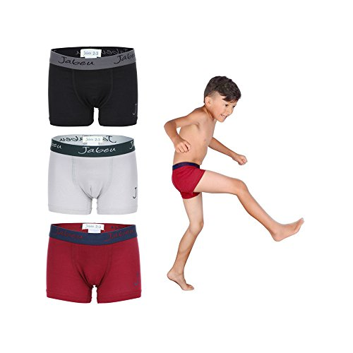 Colored Thermal Underwear - Jabeu Boys Underwear - Cotton Underwear for Kids - Boxer Briefs - 3 Pack - Snug Fit - Assorted-1-15-16 (Weight: 100-112 Waist: 28-30)