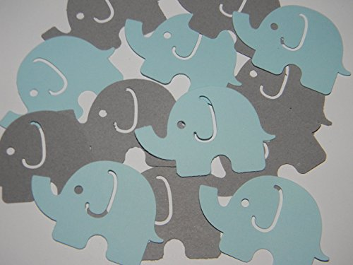 100 Large Gray and Blue Elephant Confetti Die cuts birthday party baby shower supplies -