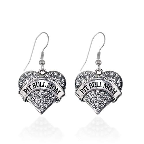 Inspired Silver - Pit Bull Mom Charm Earrings for Women - Silver Pave Heart Charm French Hook Drop Earrings with Cubic Zirconia Jewelry