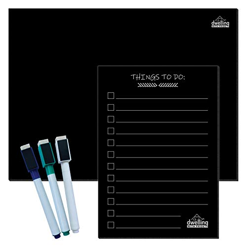 Magnetic Dry Erase Board Black - Blank Magnetic Chalkboard for Refrigerator - Black Magnetic Dry Erase Board - With 3 Magnetic Pens and To-Do - Black Erase Magnetic Board Dry