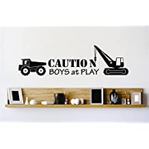 Vinyl Wall Decal Sticker : Caution Boys At Play Construction Dump Truck Stylish Decor Bedroom Bathroom Living Room Picture Art Peel & Stick Mural 22 Colors Available – Size: 10 Inches X 20 Inches