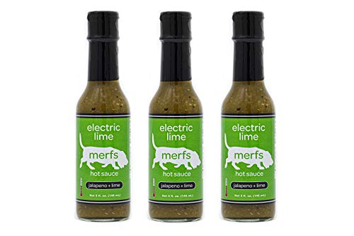 Lime Roasted Sauce - Merfs Condiments Hot Sauce (Electric Lime, 3 pack)