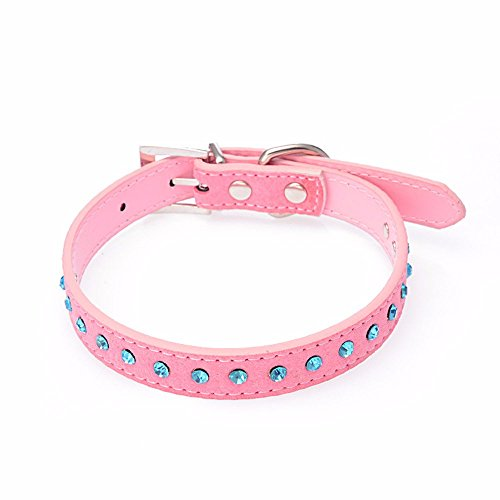 DEESEE(TM) Dog Collar Small Pet Dog Leather Collar Puppy Cat Blue Rhinestone Neck Strap (S, Pink) - Cat Collar Hardware