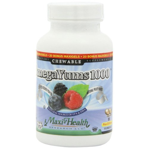 Maxi Health Kosher Vitamins Omega Yums - 1000 - Chewable - 110 Count (Omega Yums compare prices)