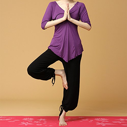 Blaulover Frauen Sport Fitness Yoga Set Plus Größe Kleidung Anzug Läuft Gebündelt Nähte Sportswear-Lila 2XL