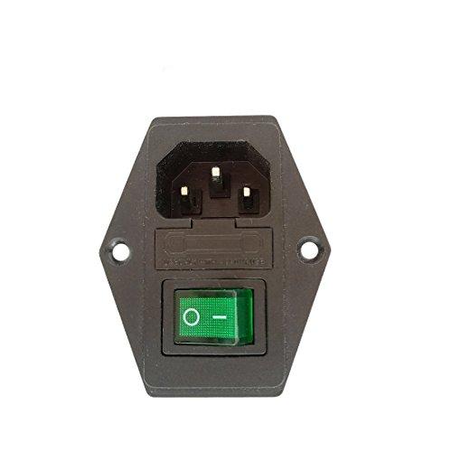 3Pin IEC320 C14 Inlet Module Plug 5A Fuse Green Switch Male Power Socket Panel Boat Rocker, AC 250V - C14 Green