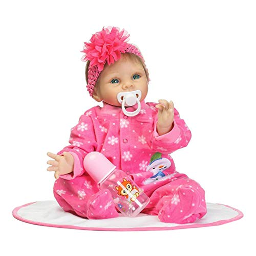 Junlinto,22inch Silicon Born Lifelike Blanket Hot Pink Onesies Snowflakes Snowman Patterns Headband Early Childhood Kids Christmas ()