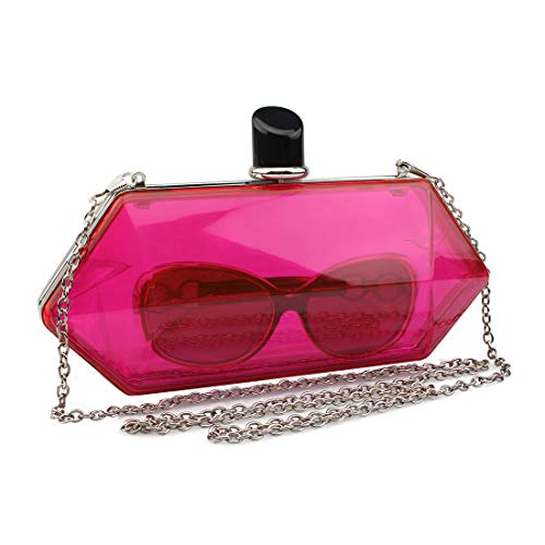 LETODE Acrylic Fashionable Transparent Evening Clutches Shoulder Bags Handbag for Women Ladies Gift Ideal (rose)