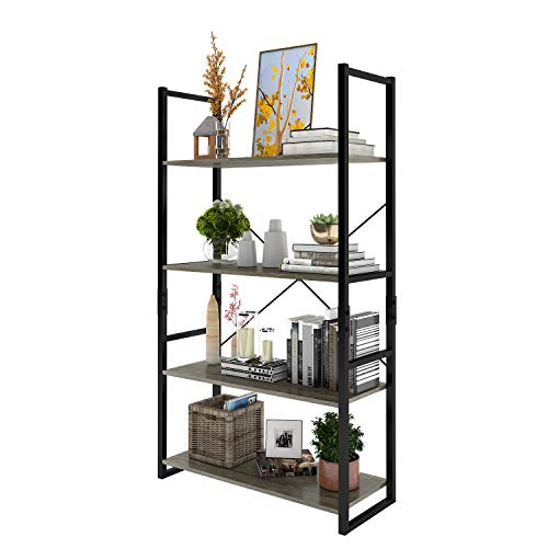 (Lifewit 4-Tier Bookcase, Wood and Metal Bookshelf, Free Standing Industrial Storage Shelf, Plant Stand Storage Garden, Learning Ladder Shelf for Living Room/Study Room, Grey)