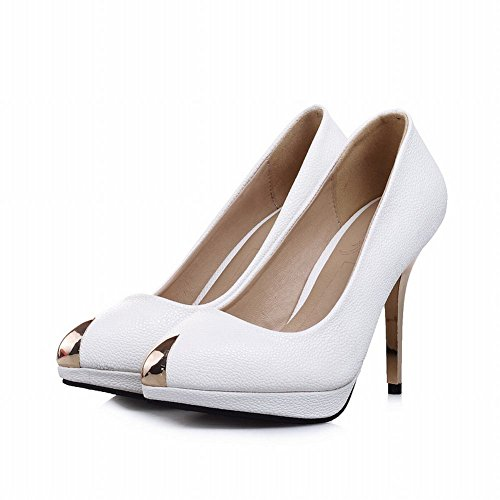 Carol Zapatos Elegance Mujeres Steel-toed Cuff Sexy Platform Stiletto Zapatos De Tacón Alto Blanco