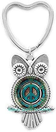 Hippie Owl Keychain, Hippie Key Ring, Hippie Jewelry, Peace Sign Owl Keychain, Peace Jewelry, Peace Key Ring,