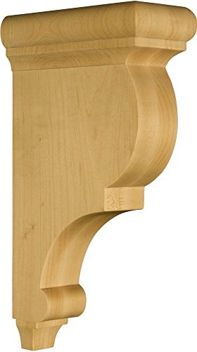Traditional Corbel in Hardwood (paintgrade) - Dimensions: 12 x 3 x 6 1/2 inches