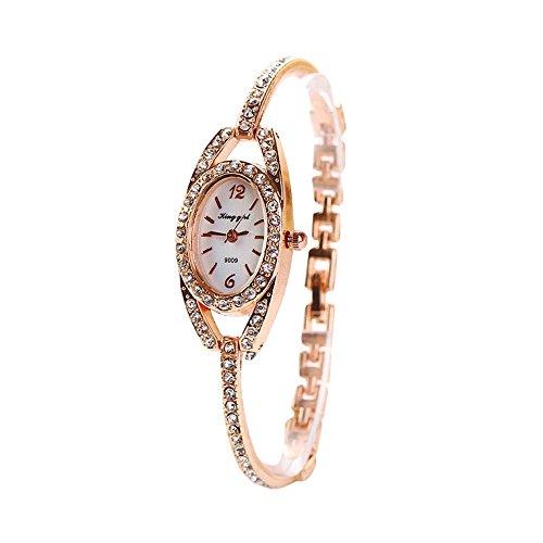 Sacow Fashion Women Lady Bracelet Stainless Steel Crystal Quartz Watch
